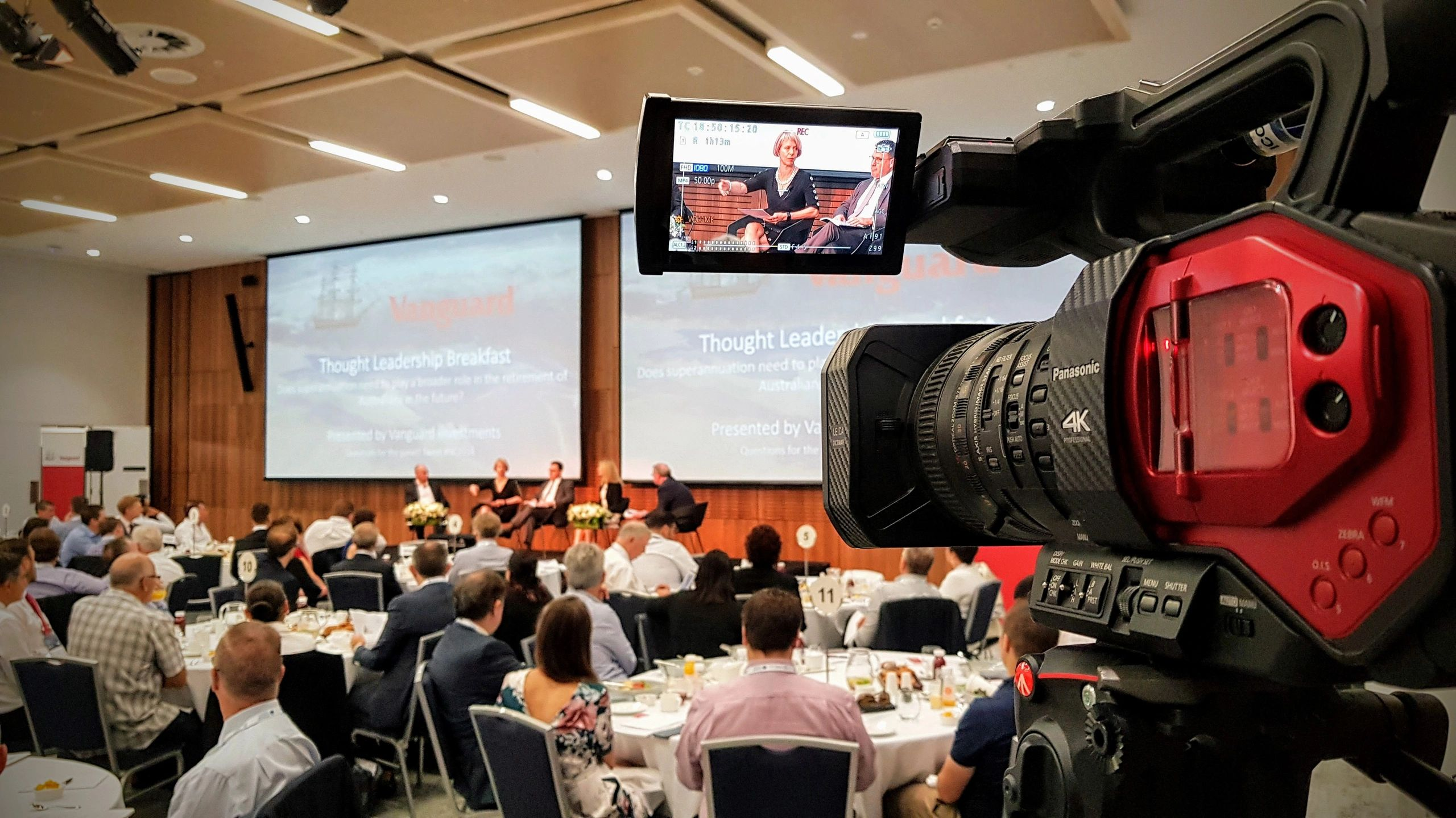 Filming the Vanguard Thought Leadership Breakfast at the SMSF Association Conference in Sydney