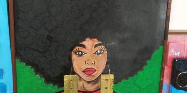 painting of melanated woman with a large afro and cassette tape earrings