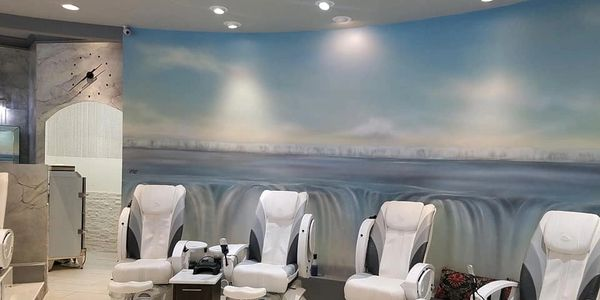 "#""Nail Spa"" #Oak Ridge, 48 foot of painted skies, water and waterfalls encompassing a circular room with 20 Massage Recliners and a wine #bar."