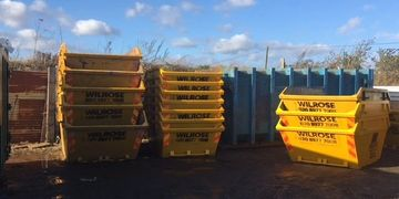 Plasterboard skips from construction sites.