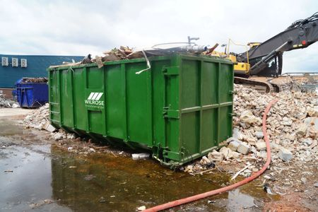 Rolonoff bins for construction sites in KT and TW postcodes.  Rolonoff skip hire, Wilrose local.