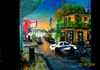 Frenchmen and Chartres St., Bookstore on right, on left  Praline Connection. Second exact acrylic painting now as mural in 8th District Police Station
