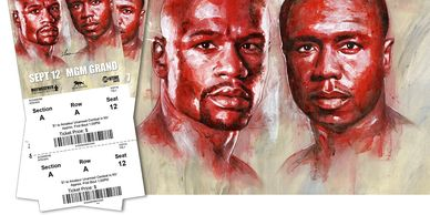 Floyd Mayweather Painting vs Andre Berto by Richard T. Slone