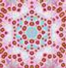 Kaleidoscope flower with red, sage green, pink