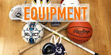 equipment lacrosse stick baseball bat helmet soccer ball basketball wrestling headgear