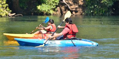 Kayaking is a water sport in which a double bladed bar and a kayak used to paddle across the water.