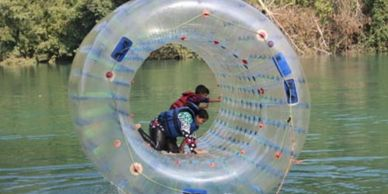 River Water ball zorbing is fun for young and children