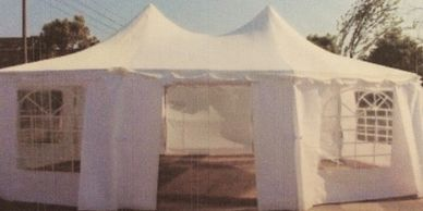 PALM SPRINGS enclosed tents for the protection of your items and convenient shade for our customers.