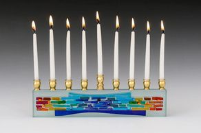 Kelemen - Parting of the Sea Menorah - Rainbow II Chanuka Menorah
