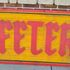 Old double-sided, hand-carved, huge, wooden Cafeteria sign