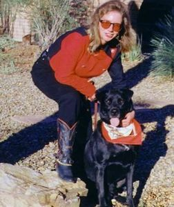 Brenda with Cody her dog.
