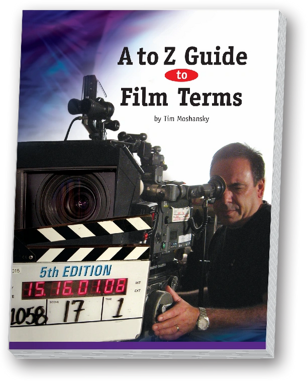 3D picture of A to Z Guide to Film Terms cover. Cameraman looking in viewfinder at Clapper Board