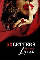Woman with red lipstick, red head scarf, finger at her lips, red butterfly 53 Letters for my Lover