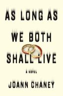 A book cover titled As Long As We Both Shall Live by Joann Chaney with bloody wedding bands on the front