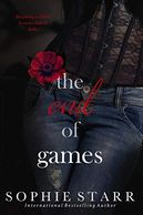 Red rose on woman wearing jeans and lace top on book titled The End of Games by Sophie Starr