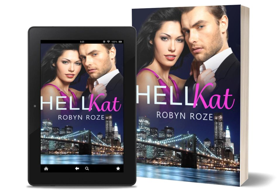 eBook and paperback image of HellKat with man and woman above big city nightscape