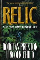Jungle with creature on book cover titled Relic by Douglas Preston and Lincoln Child