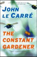 Honey bees on a book cover titled The Constant Gardener