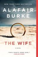 Beach with dark sky and gold wedding bank in sand for book titled The Wife by Alafair Burke