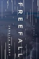 A blue book cover titled Freefall by Jessica Barry with clouds on the front