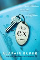 A blue book cover titled The Ex by Alafair Burke with a room key on the front