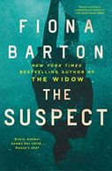 A book cover titled The Suspect by Fiona Barton with a persons reflection in wet pavement