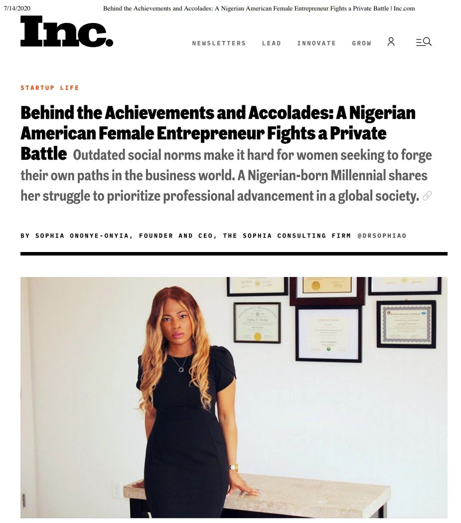 Dr. Sophia Ononye-Onyia shares her story with Inc Magazine
