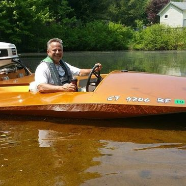 Fresh and Salty admin. Randy with his small boat with a short shaft 50hp johnson outboard