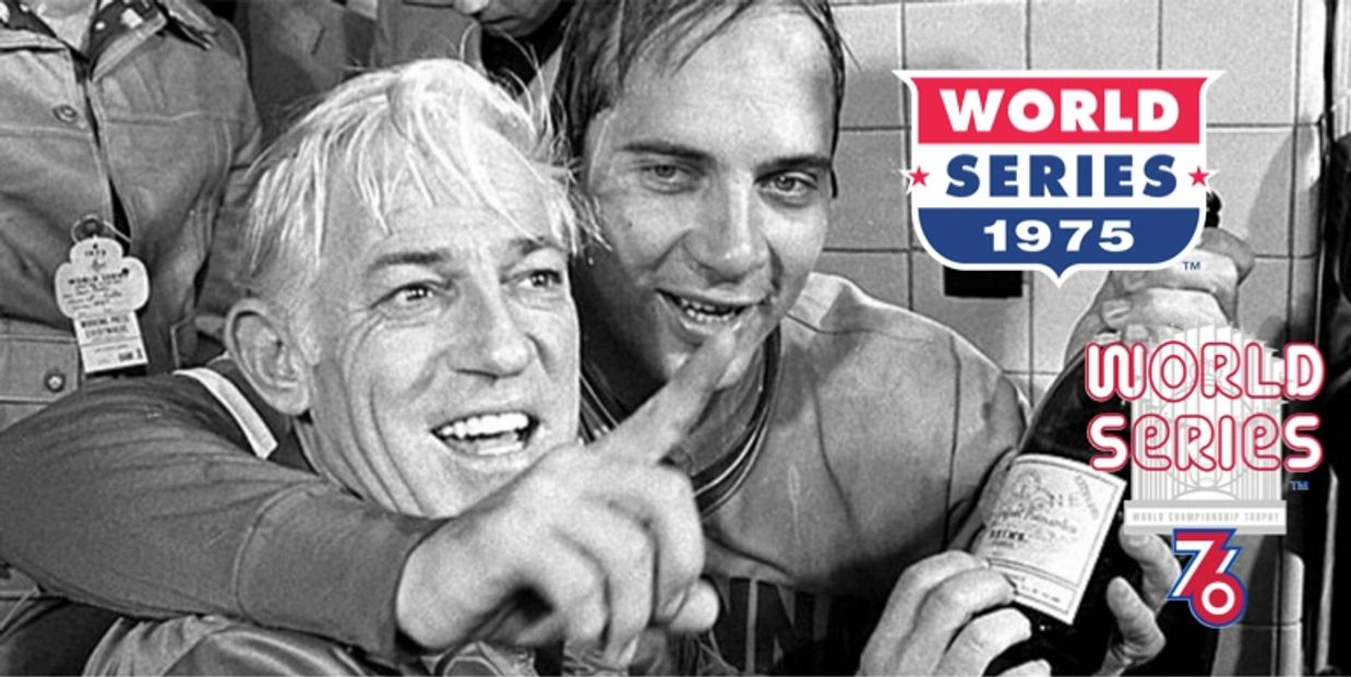 Johnny Bench and Sparky Anderson celebrate winning the World Series