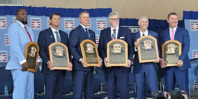MLB Hall of Fame inductees Guererro, Hoffman, Jones, Morris, Trammell and Thome.