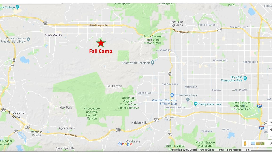 Fall Camp is just south of the 118 Freeway. The exit is Tapo Canyon Road. Fly into LAX.