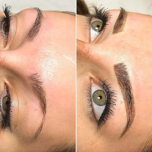 Microblading before versus immediately after.