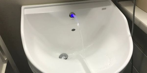 The bathrooms will feature smart sinks with motion sensors, which produce ozonated water.