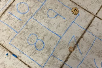 hopscotch, painting, acrylic, paper clay, acrylic mediums, chalk, oil stick,  sidewalk, games