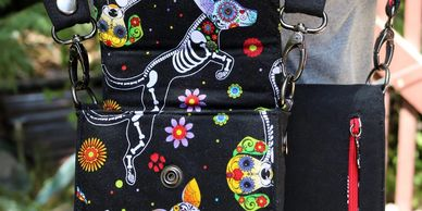 day of the dead, black double holster bag, hands free, designer purses