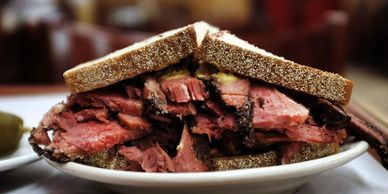 Katz Deli sandwich. Getty Images.