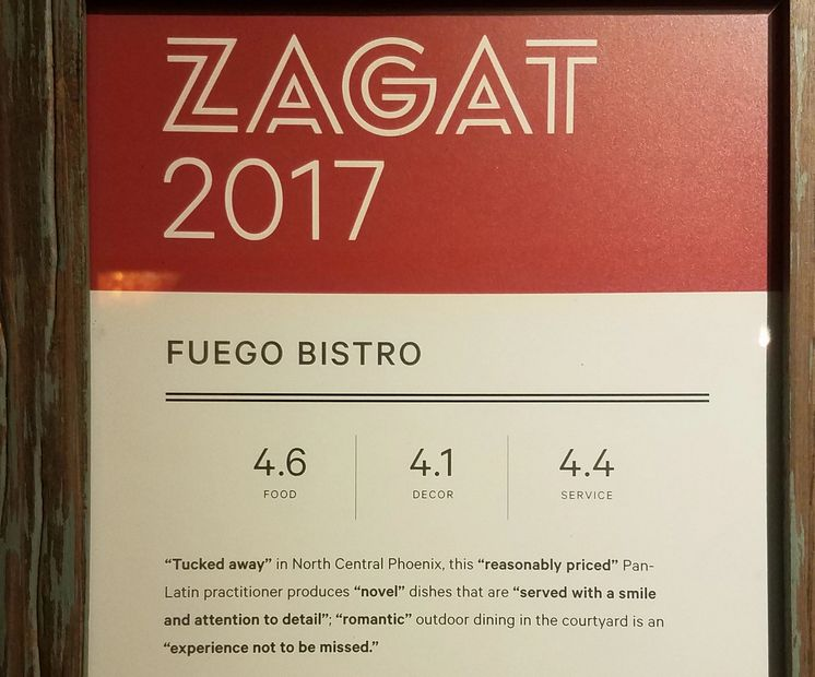 Zagat survey from 2017 showing 4.6 food, 4.1 decor, 4.4 service.