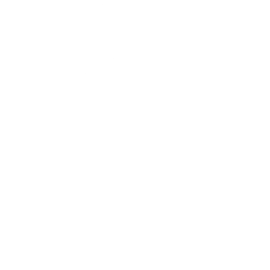 White circle with outline of flames with Fuego in cursive font