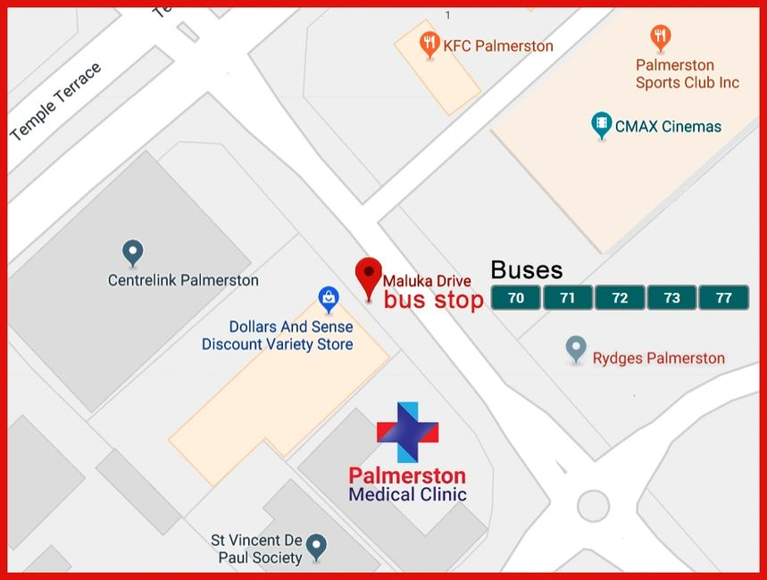 Bus routes to Palmerston Medical Clinic