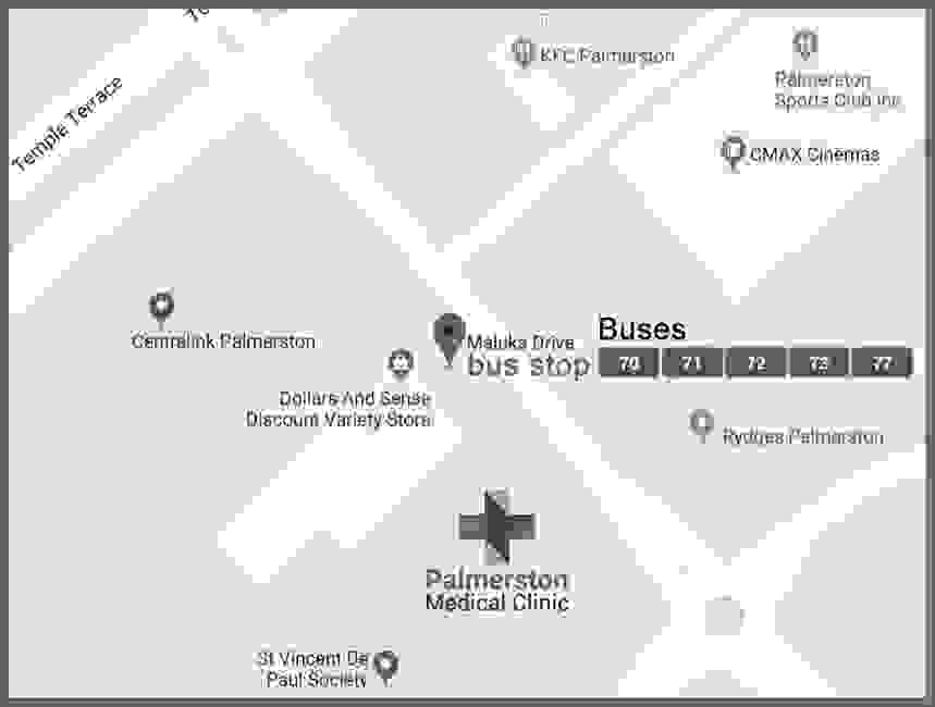 Bus routes to Palmerston Clinic
