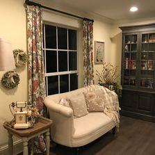 remodel, wall units, loveseat, window treatments, wall decor
