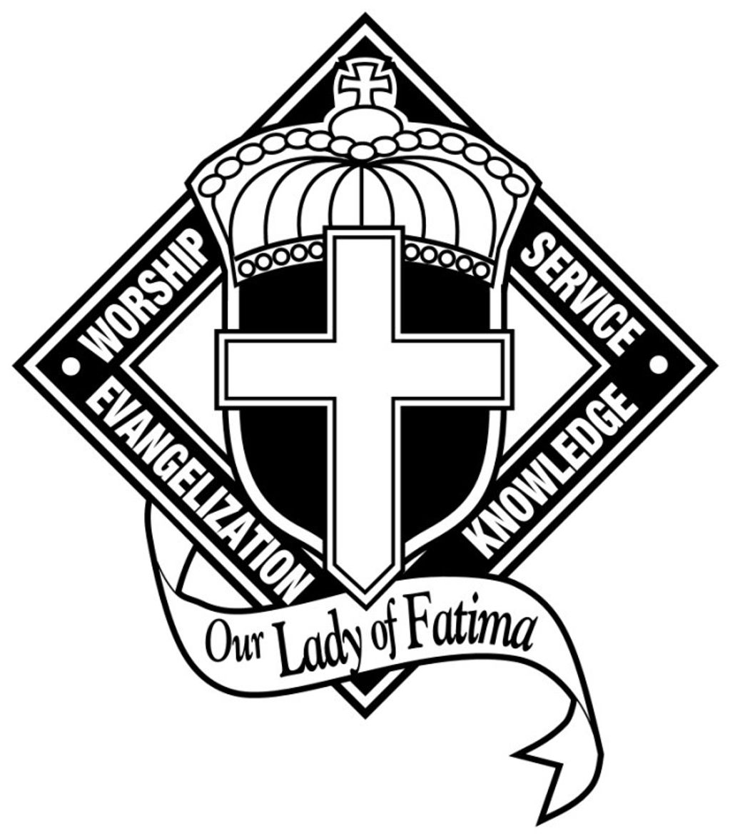 Our Lady of Fatima school logo - Worship, service, evangelization and knowledge