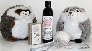 Bessie Bee's Product Line - Offered in Soap, Pet Shampoo, bath bomb and candles... Stuffed animals make the picture complete...