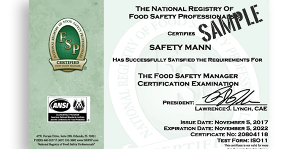 National Registry food manager certificate valid 5 years, nationwide