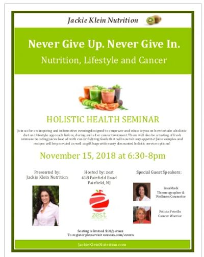 Holistic Health Seminar, nutrition, lifestyle, cancer, breast cancer, awareness, immune system,