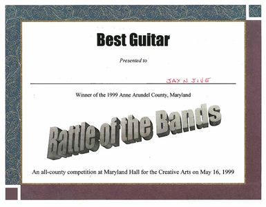 Anne Arundel County 1st Annual Battle Of The Bands Award For Best Guitar