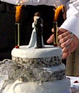 cake fountain on wedding cake outdoor