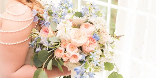 Blush and Blue Bridal Bouquet with Juliet Roses