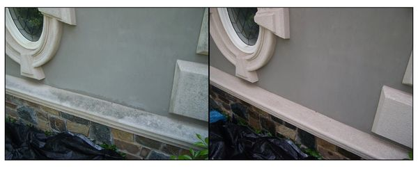 Stucco is gorgeous, when it's clean. We'll soft wash it so it looks new again.