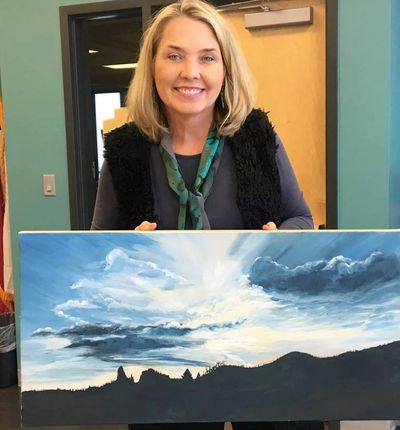 Linda Herbert with her Artist of the Month entry.